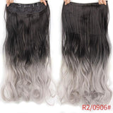 "AllBestOf.com HAIR 1B/Grey Hair 22"" 20 Colors Long Wavy High Temperature Fiber Synthetic Clip in Hair Extensions for Women"