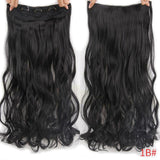 "AllBestOf.com HAIR #1B Hair 22"" 20 Colors Long Wavy High Temperature Fiber Synthetic Clip in Hair Extensions for Women"