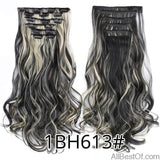 AllBestOf.com HAIR 1BH613 16 Clips 22inch 140G Long Body Wave Clip In Hair Extensions Synthetic 20 Colors Ombre blond Black Brown High Temperature
