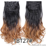AllBestOf.com HAIR 1BT27 16 Clips 22inch 140G Long Body Wave Clip In Hair Extensions Synthetic 20 Colors Ombre blond Black Brown High Temperature