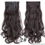 AllBestOf.com HAIR 2 16 Clips 22inch 140G Long Body Wave Clip In Hair Extensions Synthetic 20 Colors Ombre blond Black Brown High Temperature