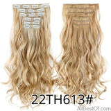 AllBestOf.com HAIR 22TH613 16 Clips 22inch 140G Long Body Wave Clip In Hair Extensions Synthetic 20 Colors Ombre blond Black Brown High Temperature