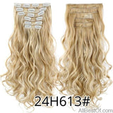 AllBestOf.com HAIR 24H613 16 Clips 22inch 140G Long Body Wave Clip In Hair Extensions Synthetic 20 Colors Ombre blond Black Brown High Temperature