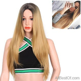 "AllBestOf.com HAIR 26"" Long Straight Grey Red Pink Ombre Black Synthetic Wigs Cosplay Hair Heat Resistant"