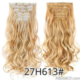AllBestOf.com HAIR 27H613 16 Clips 22inch 140G Long Body Wave Clip In Hair Extensions Synthetic 20 Colors Ombre blond Black Brown High Temperature