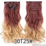 AllBestOf.com HAIR 30T25 16 Clips 22inch 140G Long Body Wave Clip In Hair Extensions Synthetic 20 Colors Ombre blond Black Brown High Temperature