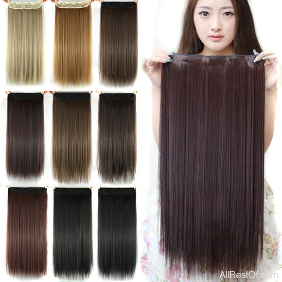 AllBestOf.com HAIR 60cm Long Straight Clip In Hair Extensions Black Brown High Temperature Synthetic Hair Piece