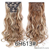 AllBestOf.com HAIR 6H613 16 Clips 22inch 140G Long Body Wave Clip In Hair Extensions Synthetic 20 Colors Ombre blond Black Brown High Temperature
