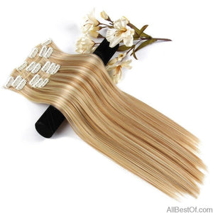 "AllBestOf.com HAIR 6Pcs/Set 22"" Hairpiece 140G Straight 16 Clips In Synthetic Hair Extensions Heat Resistant"