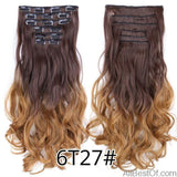 AllBestOf.com HAIR 6T27 16 Clips 22inch 140G Long Body Wave Clip In Hair Extensions Synthetic 20 Colors Ombre blond Black Brown High Temperature