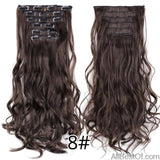 AllBestOf.com HAIR 8 16 Clips 22inch 140G Long Body Wave Clip In Hair Extensions Synthetic 20 Colors Ombre blond Black Brown High Temperature