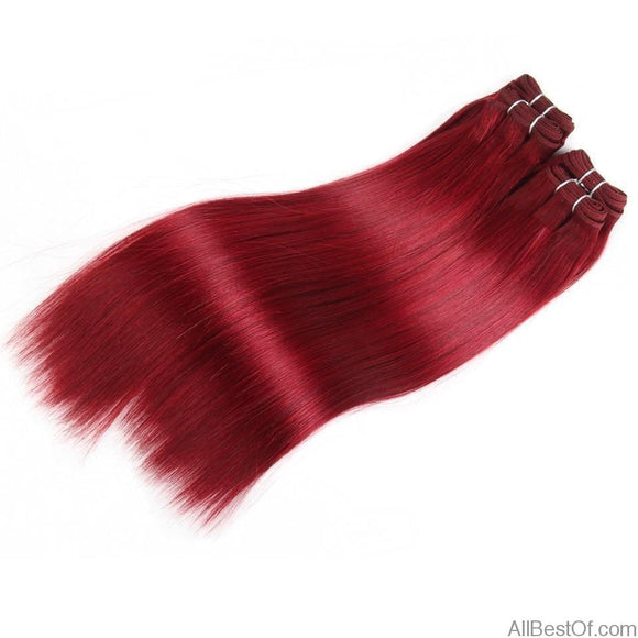 AllBestOf.com HAIR 8-18 inch Brazilian Yaki Straight Hair 4 Bundles 190G 1 Pack Human Hair Weave Bundles Red Burg Color Hair Extension