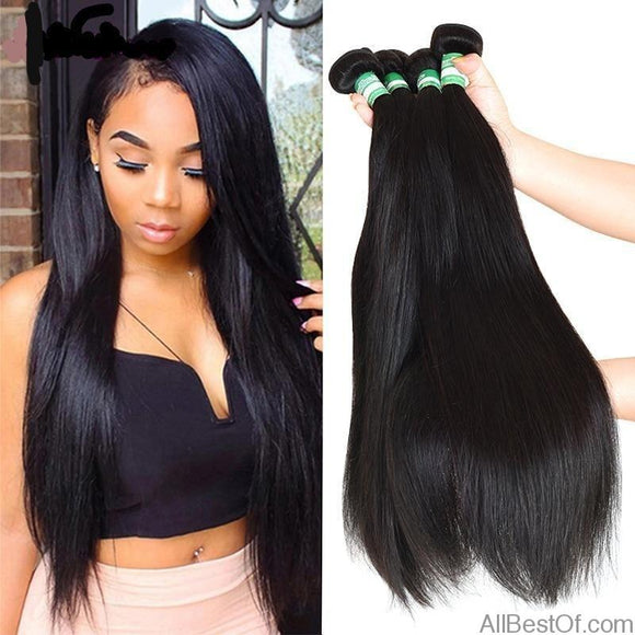 AllBestOf.com HAIR 8-28 inch Brazilian Straight Hair 4 Bundles 100% Human Hair Weave Extensions