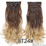 AllBestOf.com HAIR 8T24 16 Clips 22inch 140G Long Body Wave Clip In Hair Extensions Synthetic 20 Colors Ombre blond Black Brown High Temperature