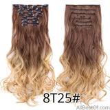 AllBestOf.com HAIR 8T25 16 Clips 22inch 140G Long Body Wave Clip In Hair Extensions Synthetic 20 Colors Ombre blond Black Brown High Temperature