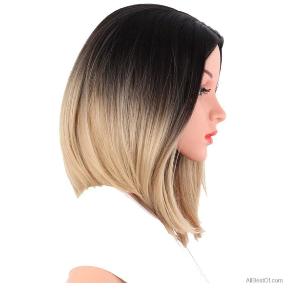AllBestOf.com HAIR African American Bob Wigs Short Shoulder Length Ombre Blonde Green 8 Colors Straight Synthetic Wigs
