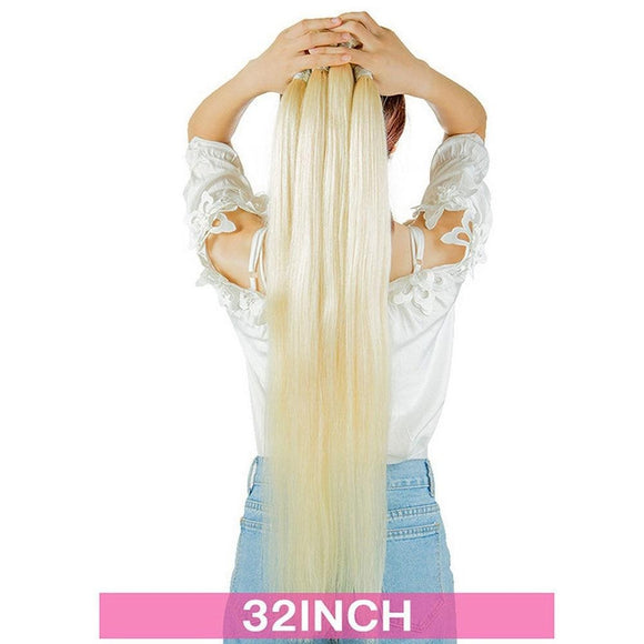 AllBestOf.com HAIR Blonde Human Hair Extensions 32 34 36 38 40 Inch Peruvian 613 Blonde Straight Human Remy Hair Bundles 1 / 3 / 4 Pcs