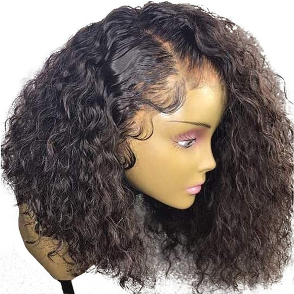 AllBestOf.com HAIR Curly 360 Lace Frontal Wig Pre Plucked With Baby Hair 180% Density Short Brazilian Remy Human Hair Bob Wigs