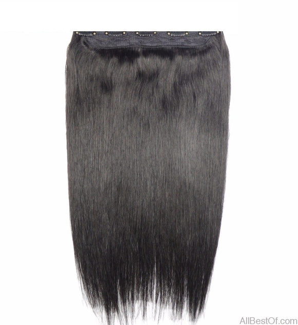 AllBestOf.com HAIR Machine Made Remy Hair One Piece Set 5 Clips in 100% Human Hair Extensions 16-20inch  1pc Hair Natural Straight