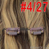 AllBestOf.com HAIR #P4/27 / 16 inches / 100g/Set >=25%, 6 Months 16-24 inch 10 Colors Brazilian Straight Machine Made Remy 100% Human Hair Clip In #613 light Blonde Color