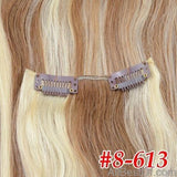 AllBestOf.com HAIR P8-613 / 20 inches / 100g/Set >=25%, 6 Months 16-24 inch 10 Colors Brazilian Straight Machine Made Remy 100% Human Hair Clip In #613 light Blonde Color