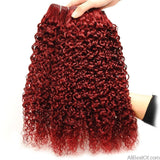 AllBestOf.com HAIR Red 99J Brazilian Jerry Curl Human Hair 4 Bundles 10-26inch Burgundy Hair Weave Extension Thick No Shedding