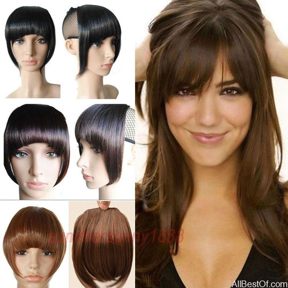 AllBestOf.com HAIR Short Front Neat Bangs Clip In Bang Fringe Hair Extensions Straight Synthetic Hairpiece