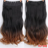 "AllBestOf.com HAIR T4/27/30 Hair 22"" 20 Colors Long Wavy High Temperature Fiber Synthetic Clip in Hair Extensions for Women"