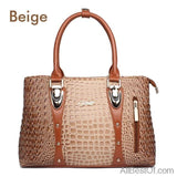 AllBestOf.com HANDBAG Beige Luxury Brand Designer Fashion Crocodile Leather Handbag
