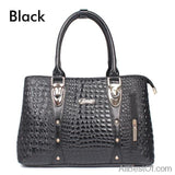 AllBestOf.com HANDBAG Black Luxury Brand Designer Fashion Crocodile Leather Handbag