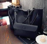 AllBestOf.com HANDBAG Black Soft Leather Women HandBag Set Luxury Brand Designer High Quality