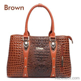 AllBestOf.com HANDBAG Brown Luxury Brand Designer Fashion Crocodile Leather Handbag