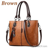 AllBestOf.com HANDBAG Brown Luxury Designer Solid Outlet Europe Leather Handbag
