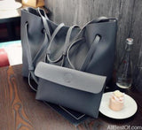 AllBestOf.com HANDBAG Dark Grey Soft Leather Women HandBag Set Luxury Brand Designer High Quality