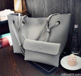 AllBestOf.com HANDBAG Light Grey Soft Leather Women HandBag Set Luxury Brand Designer High Quality