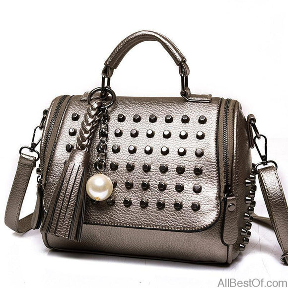 AllBestOf.com HANDBAG Luxury Designer High Quality Leather Handbag Retro Rivet Shoulder Bag