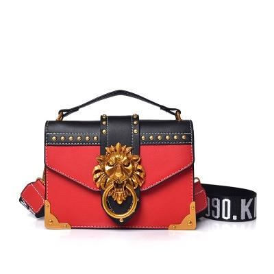 AllBestOf.com HANDBAG Red Fashion Metal Lion Head Square Pack Designer Wallet Handbags