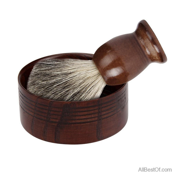 AllBestOf.com HEALTH & BEAUTY Beard shaving brush salon badger hair with wooden shaving soap bowl