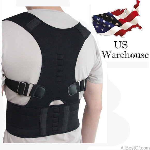 AllBestOf.com HEALTH & BEAUTY Magnetic Therapy Posture Corrector Brace Shoulder Back Support Belt US Stock
