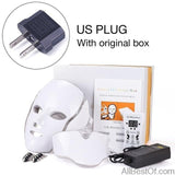 AllBestOf.com HEALTH & BEAUTY US Plug with box New LED Light Photon Face Neck Mask Skin Rejuvenation Therapy Wrinkles 7 Colors