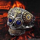 AllBestOf.com JEWELS 11 / part gold blue eye Stainless Steel Gem Ring Cross Skull Biker Men Ring hot sale Man's Fashion Jewelry