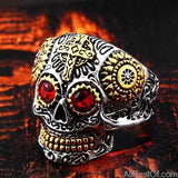 AllBestOf.com JEWELS 11 / part gold red eye Stainless Steel Gem Ring Cross Skull Biker Men Ring hot sale Man's Fashion Jewelry