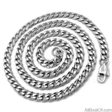 "AllBestOf.com JEWELS 3.5/5/7/9/11mm Mens Necklace Curb Cuban Link Silver Tone Stainless Steel Chain Jewelry Length 16""-38"""