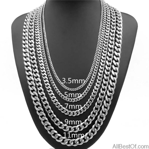 AllBestOf.com JEWELS 3.5/5/7/9/11mm Mens Necklace Curb Cuban Link Silver Tone Stainless Steel Chain Jewelry Length 16