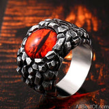 AllBestOf.com JEWELS 7 / B STYLE red Rock Claw with three Zircon stone evil eye CZ ring men anniversary Biker jewelry Gift