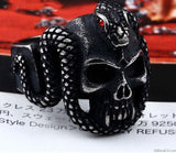 AllBestOf.com JEWELS 7 / Black Retro Style Stainless Steel Vintage Snake Ring With Red Stone Devil Skull Biker Exquisite Jewelry For Man