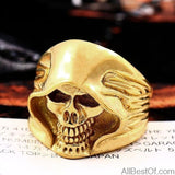 AllBestOf.com JEWELS 7 / full plated gold Stainless steel Cool Hell Death Skull Man Punk Biker High Quality Ring