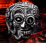 AllBestOf.com JEWELS 7 / silver Stainless Steel Gem Ring Cross Skull Biker Men Ring hot sale Man's Fashion Jewelry