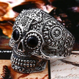 AllBestOf.com JEWELS 7 / white and black eye Stainless Steel Gem Ring Cross Skull Biker Men Ring hot sale Man's Fashion Jewelry