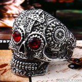 AllBestOf.com JEWELS 7 / white and red eye Stainless Steel Gem Ring Cross Skull Biker Men Ring hot sale Man's Fashion Jewelry